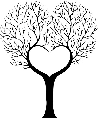Tree branch cartoon in shape of heart