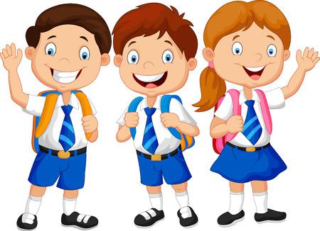 school girl uniform: Bambini felici di scuola di fumetto agitando la mano