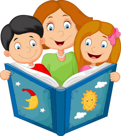 Cartoon mother reading with his children Illustration