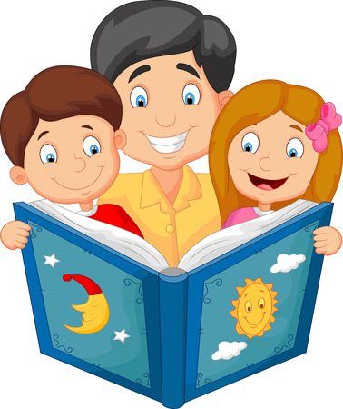 sons: Cartoon father reading with his children
