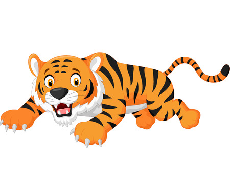 animal fight: Cartoon tiger jumping