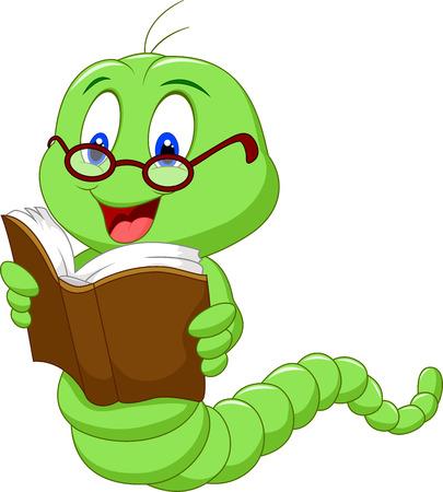 Cartoon worm reading book  イラスト・ベクター素材