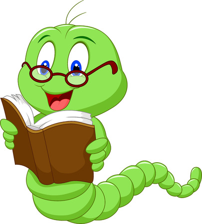 Cartoon worm reading book Çizim