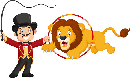 circus animal: Cartoon lion jumping through ring