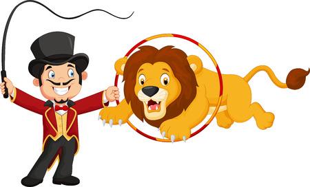 circus animals: Le�n de la historieta que salta a trav�s del anillo Vectores