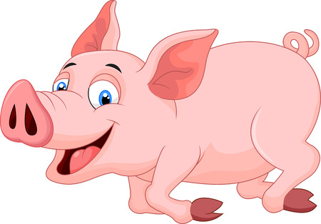 pig cartoon: Cartoon pig running