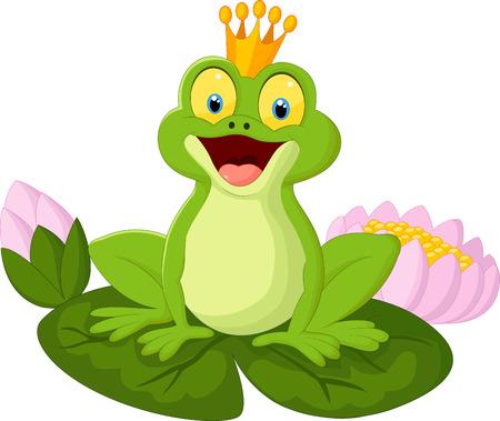rana caricatura: Rey de la historieta de la rana Vectores