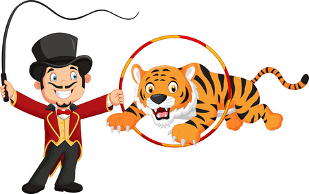 train cartoon: Cartoon tiger jumping through ring