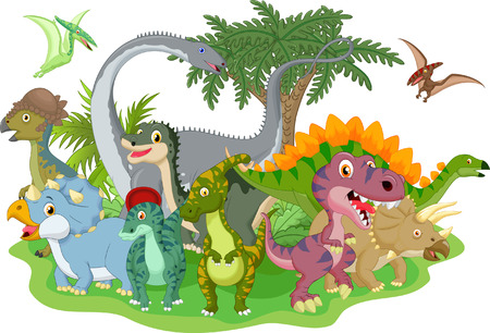 large group of animals: Cartoon group dinosaur Illustration