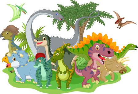 dinosaurio caricatura: Dinosaurio grupo de dibujos animados Vectores
