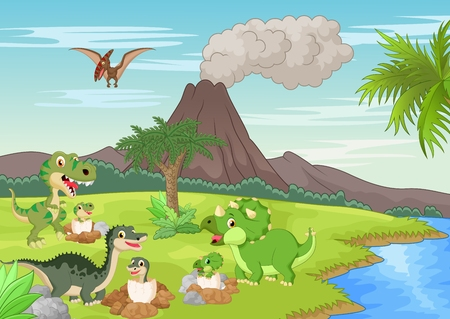young animal: Cartoon dinosaur nesting ground Illustration