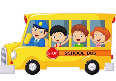 public safety: Happy children cartoon on a school bus