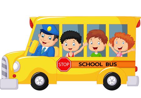 niño escuela: Los niños de dibujos animados feliz en un autobús escolar Vectores