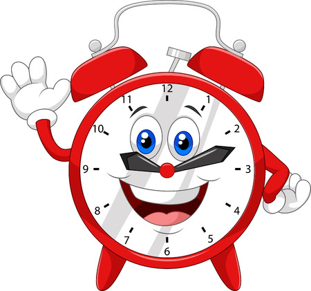 wake: Cartoon clock waving hand