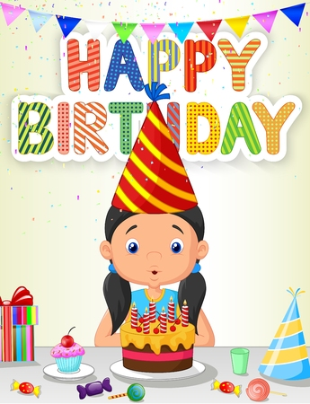 Little girl cartoon blowing birthday candle 矢量图像
