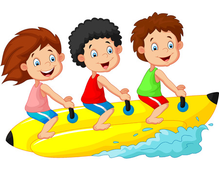 boating: Happy kids cartoon riding a banana boat