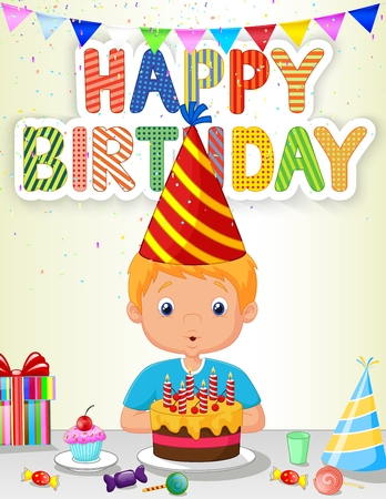 blowing: Little boy cartoon blowing birthday candle