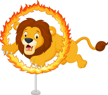 fire circle: Cartoon tiger jumps through ring of fire