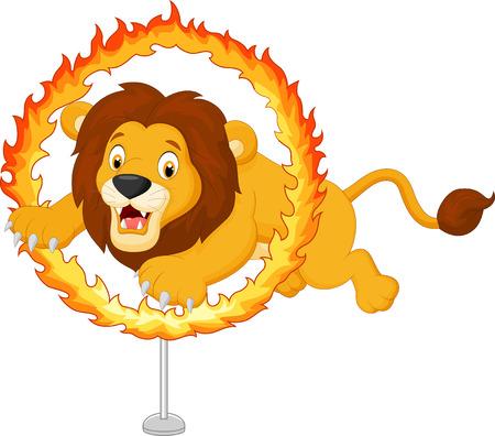 Cartoon tiger jumps through ring of fire