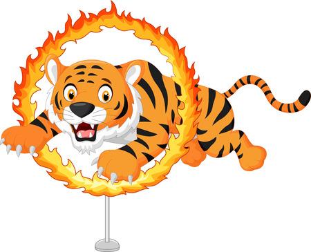 Cartoon tiger jumps through ring of fire Vector