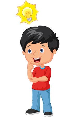 Kleine jongen cartoon met grote idee Stock Illustratie