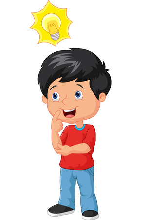 Little boy cartoon with big idea