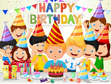 Happy boy cartoon blowing birthday candles with his friends Illustration