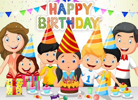 event party festive: Happy girl cartoon blowing birthday candles with his family and friends