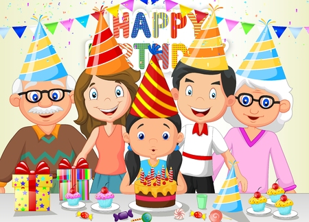 enjoyment: Happy girl cartoon blowing birthday candles with his family
