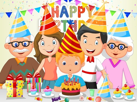 blowing: Happy boy cartoon blowing birthday candles with his family