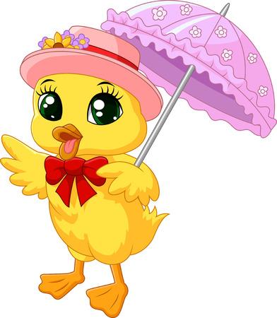 Cute cartoon kaczka z różowym parasolem