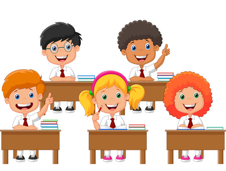 school illustration: School children cartoon in classroom at lesson