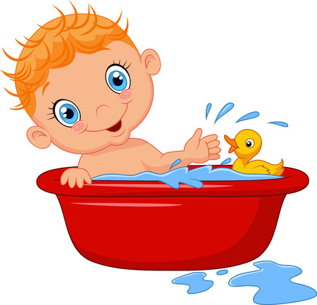 baby playing toy: Cartoon baby in a bath splashing water