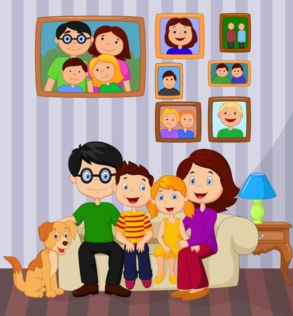family home: Happy family cartoon sitting on sofa