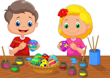 cartoon school girl: Little kids cartoon painting Easter egg