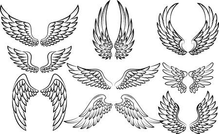 tatouage ange: ailes Cartoon collection de consigne Illustration