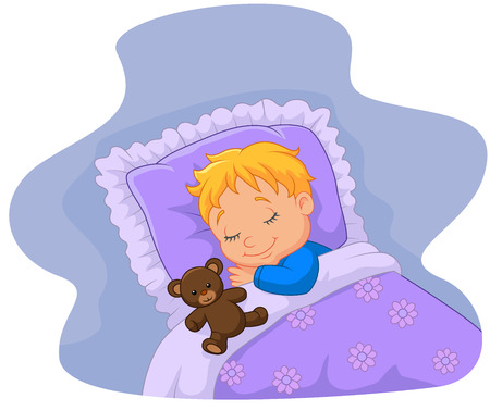 child bedroom: Cartoon baby sleeping with teddy bear