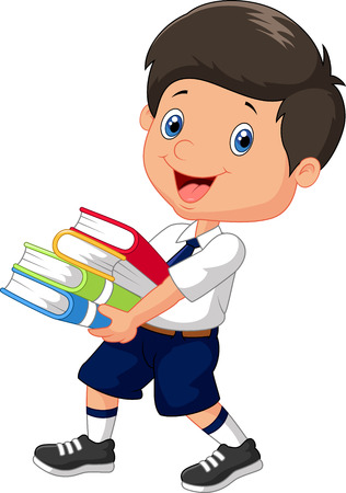 uniformes: Muchacho de la historieta que sostiene una pila de libros Vectores