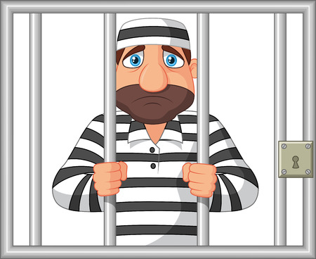 gripping bars: Cartoon Prisoner behind bar
