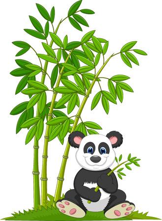 漫画のパンダに座ってと竹を食べる