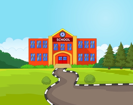 nursery school: Cartoon school building Illustration