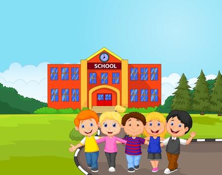 Happy school children cartoon in front of school Illustration