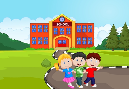 Happy school children cartoon in front of school Illustration