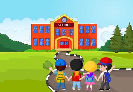 personas saludando: Poco Caricatura de ni�os van a la escuela