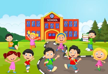 escuela primaria: Niños de la escuela feliz de la historieta delante de la escuela