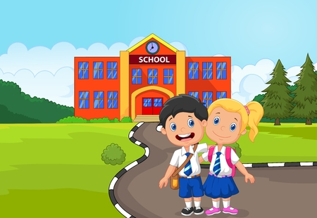schoolbag: Two happy students cartoon standing in front of school building Illustration
