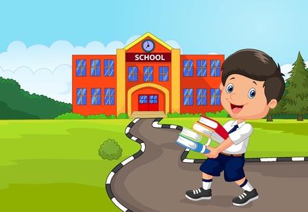 kindergartner: Cartoon boy holding a pile of books