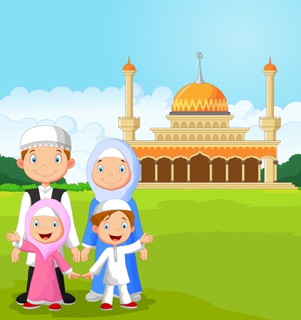 lifestyle family: Familia musulmana feliz de dibujos animados