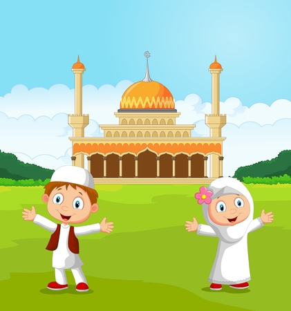 humble: Happy cartoon Muslim kids waving hand in front of mosque