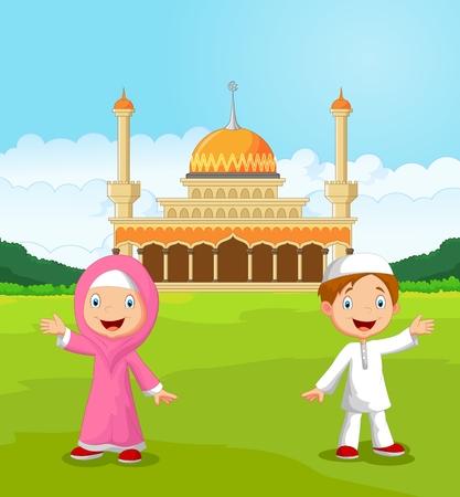 Happy cartoon Muslim kids waving hand in front of mosque Vector